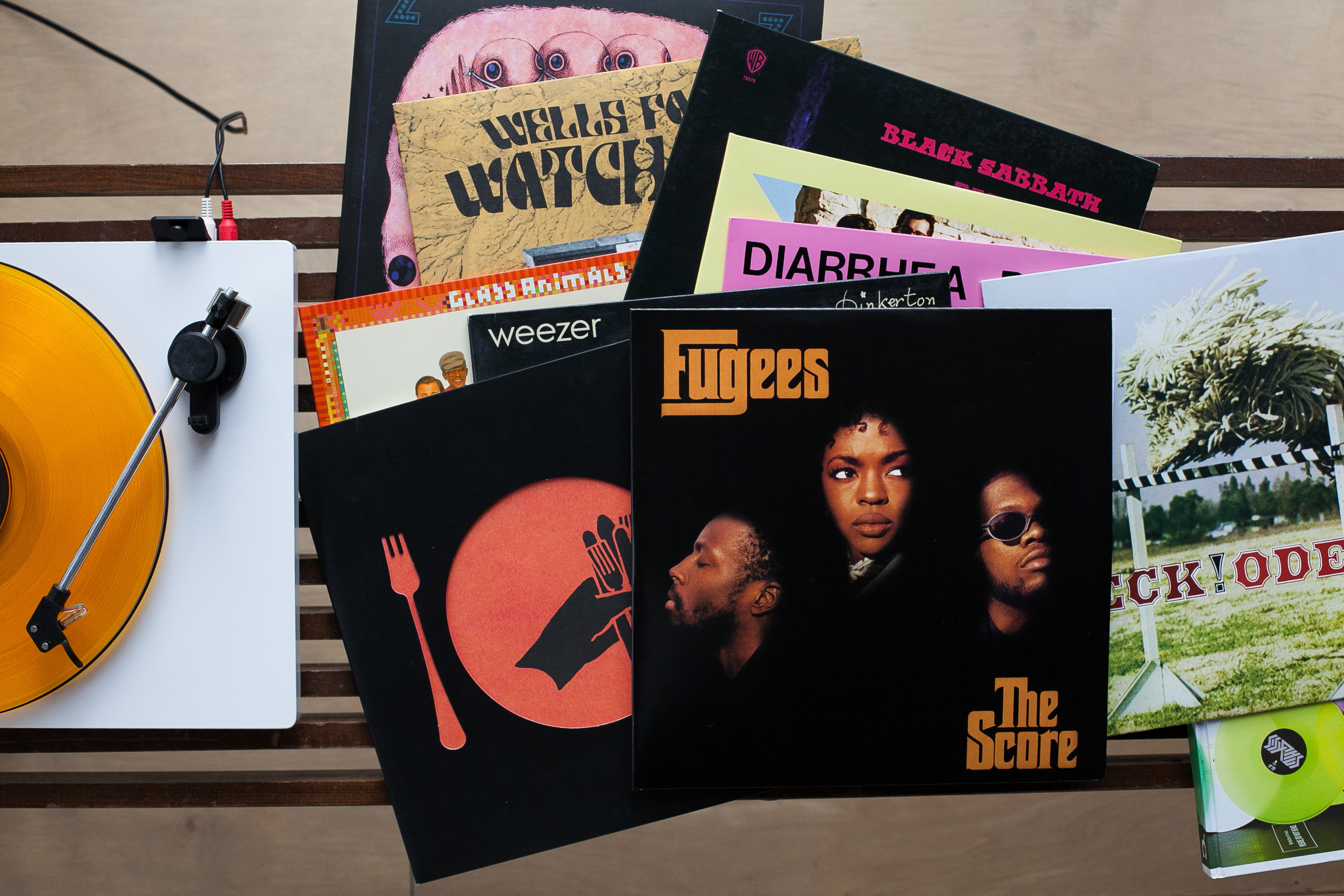 """A collection of records, including """"The Score' by the Fugees"""