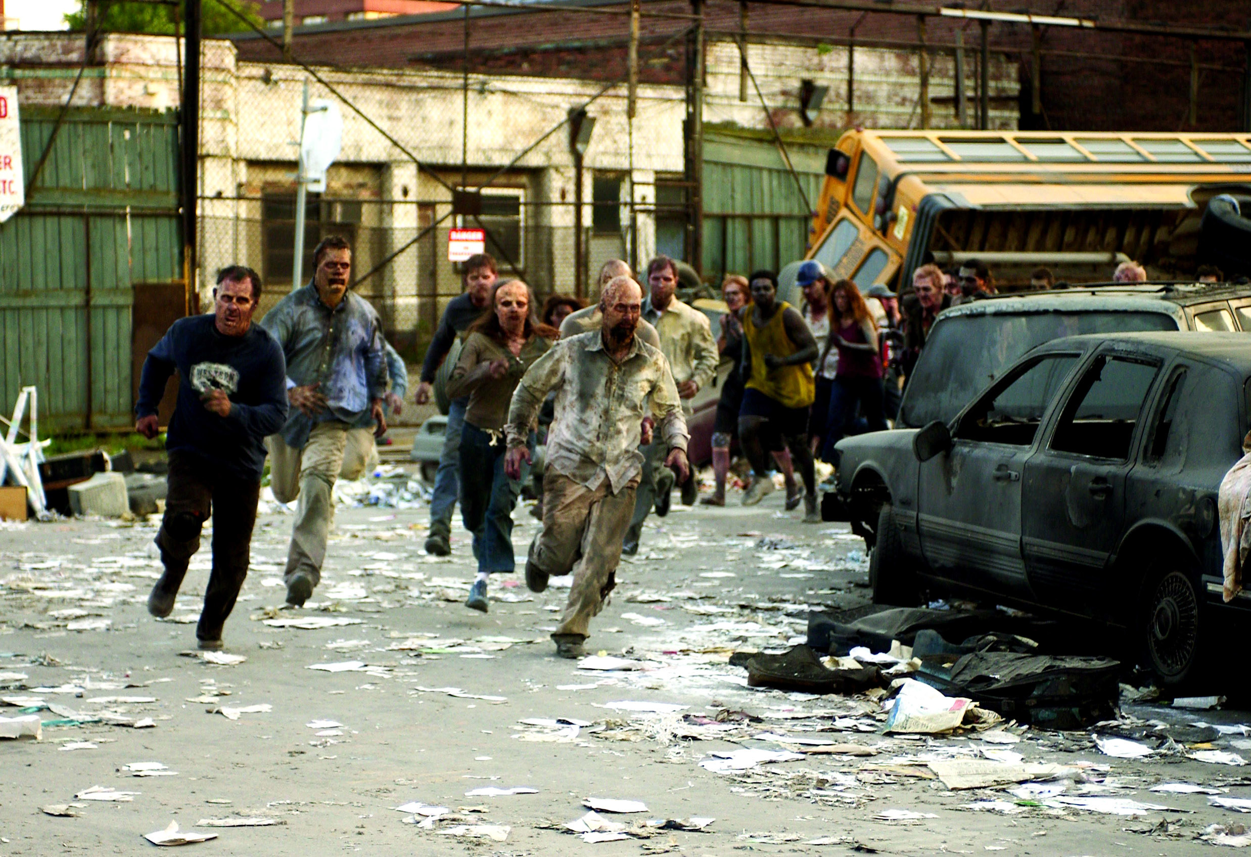 zombies running towards people in the movie dawn of the dead