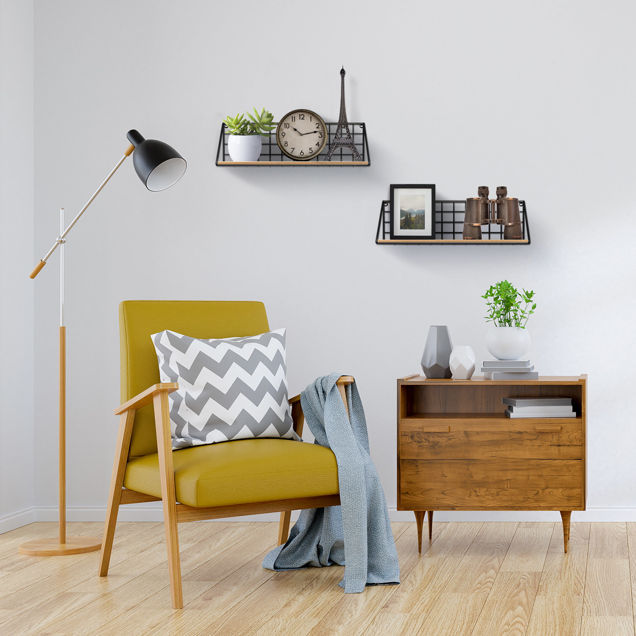 Metal and wood floating shelves