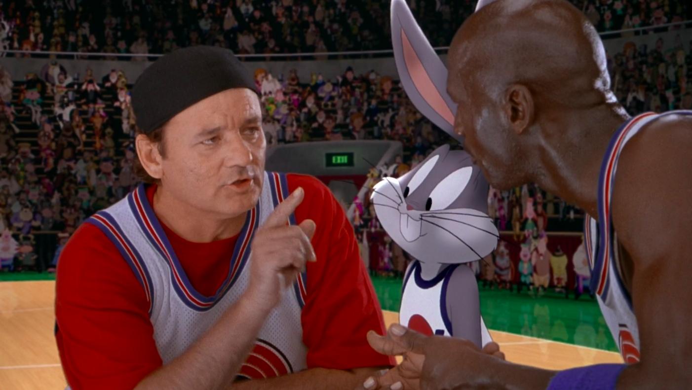"""Bill Murray, Bugs Bunny, and Michael Jordan in """"Space Jam"""""""