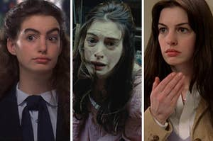 Anne Hathaway in the princess diaries on the right, les mis in the middle, and the devil wears prada on the right