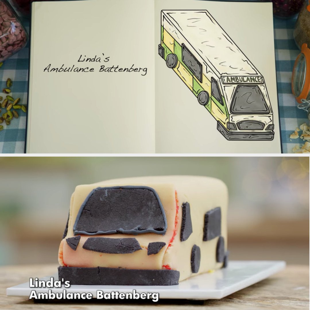 A drawing of Linda's Battenberg meant to look like an ambulance side-by-side with her finished product