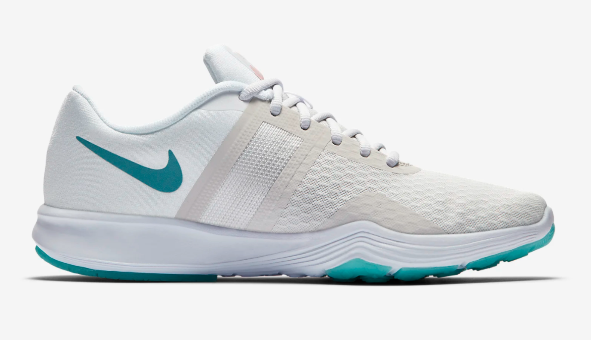 The shoes in white and teal