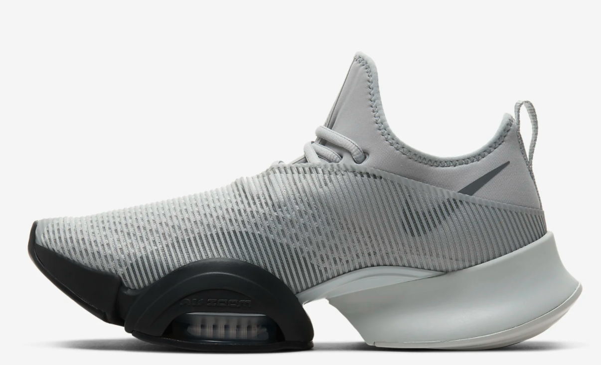 The sneakers in white and black, the forefront of the shoe has extra support
