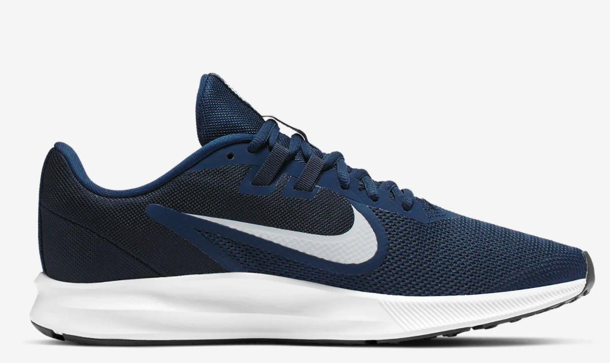 The sneakers in navy blue and white