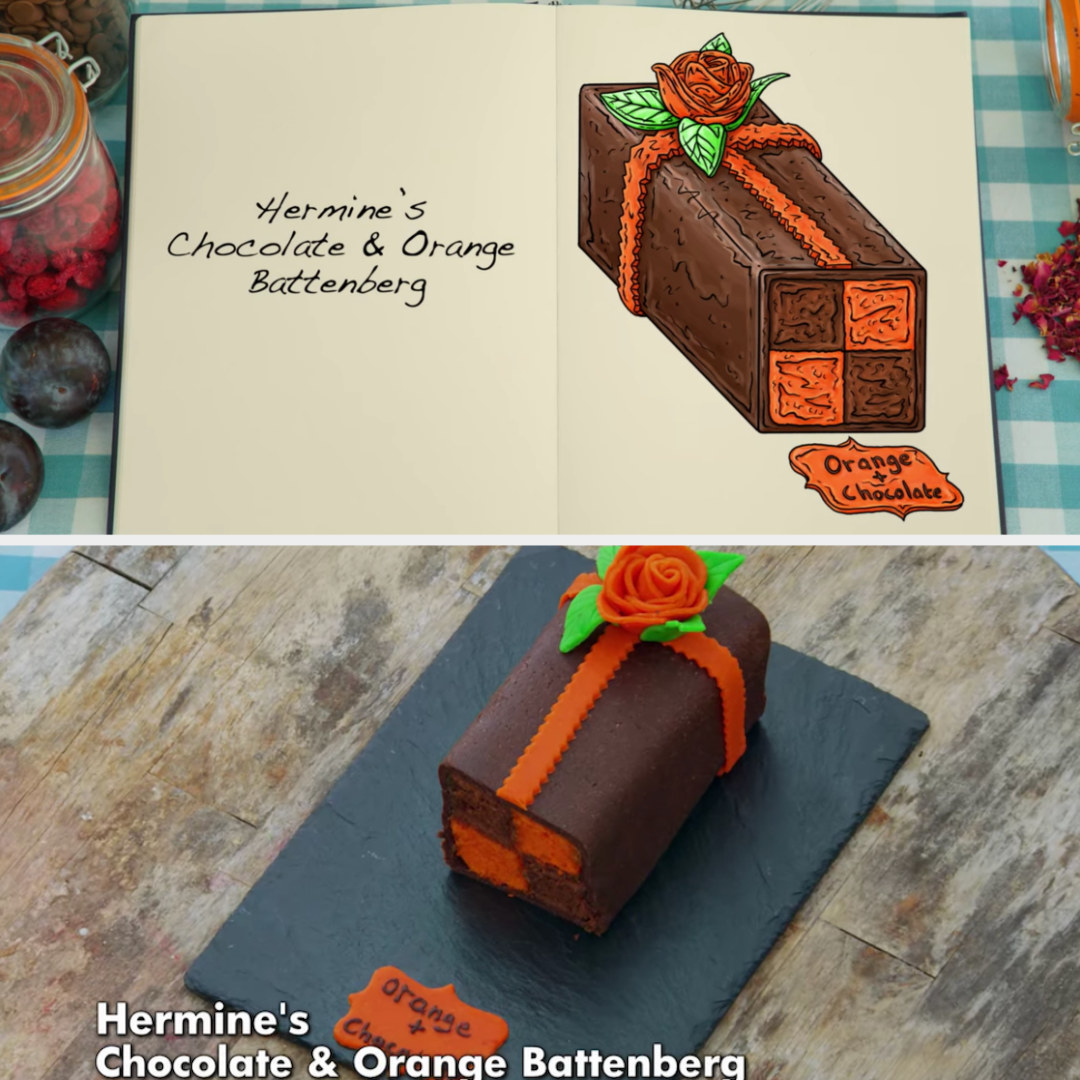 A drawing of Hermine's chocolate and orange Battenberg, with a piped flower side-by-side with her finished product