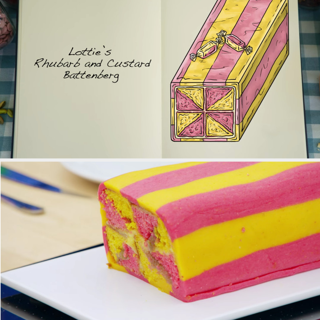 A drawing of Lottie's bright pink and yellow rhubarb and custard Battenberg side-by-side with her finished product