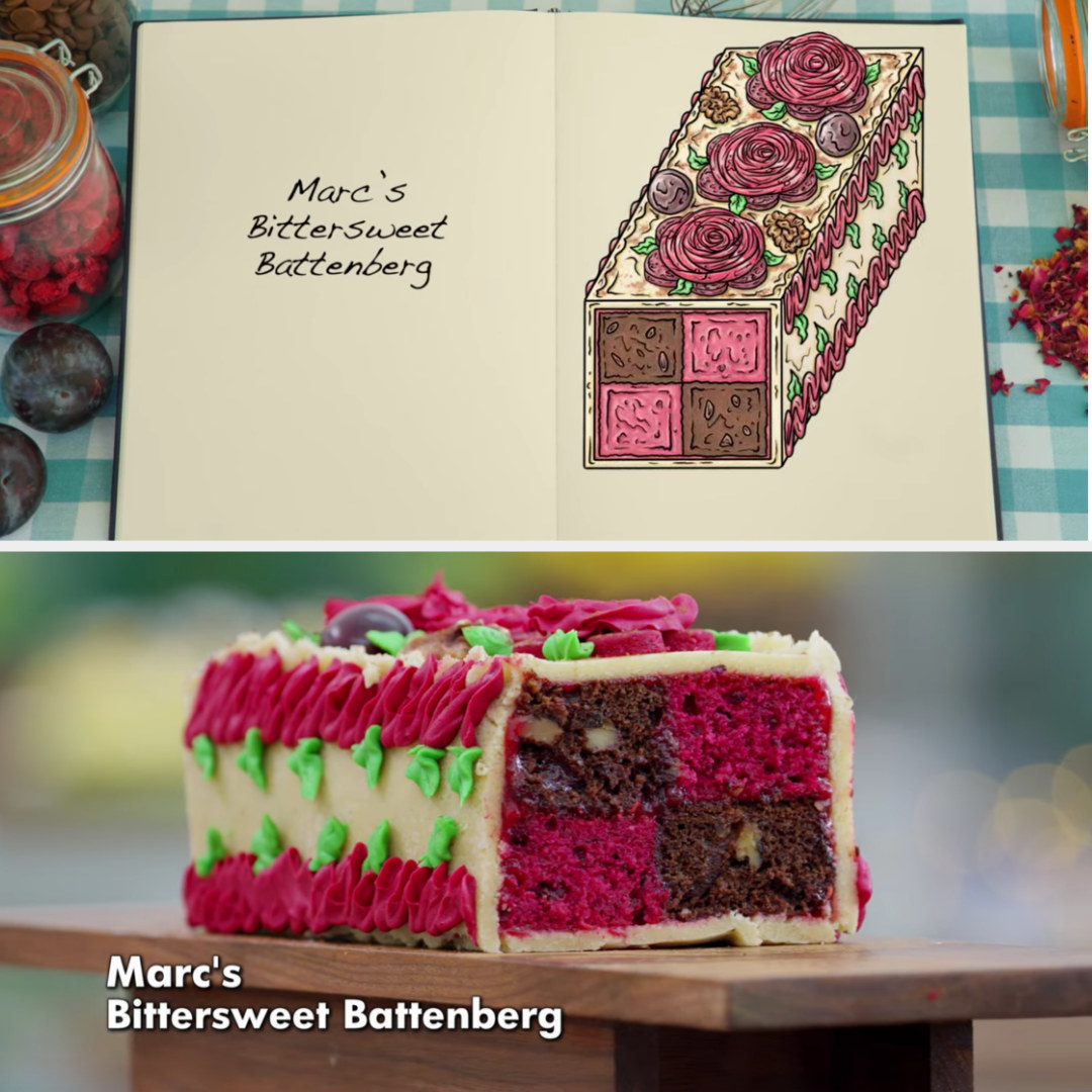 A drawing of Marc's bittersweet Battenberg with sour cherry and chocolate and walnut sponge decorated in piped flowers side-by-side with his finished product