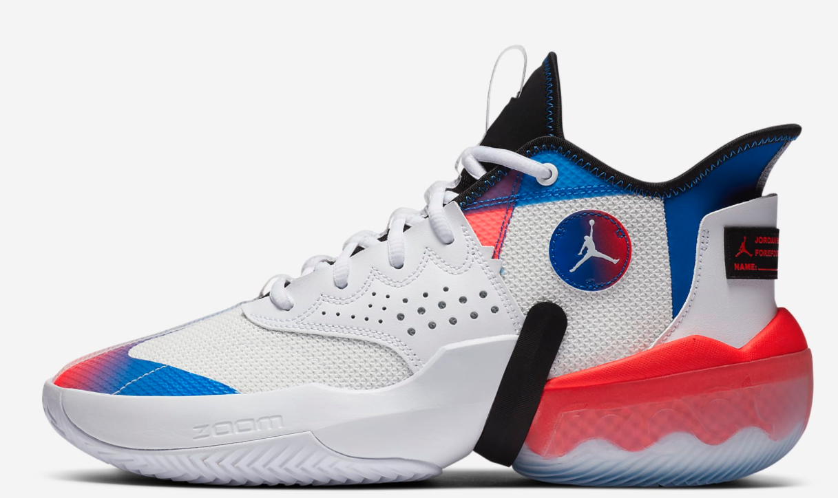 The sneakers in white, red, and blue