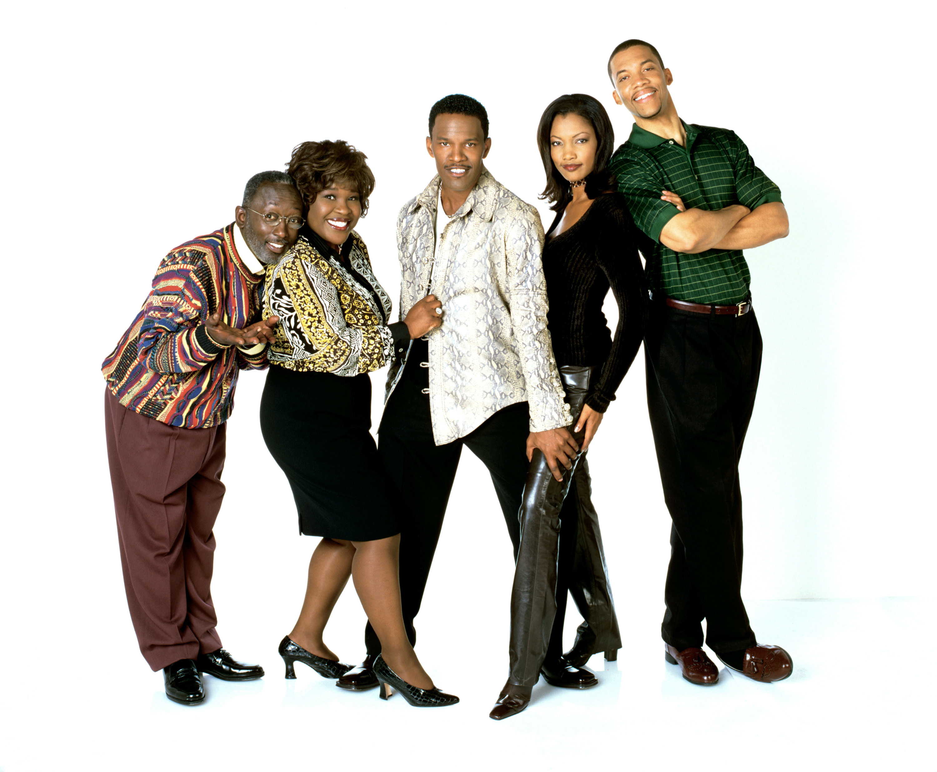 """The cast of the """"Jamie Foxx Show"""" pose for a photo shoot"""