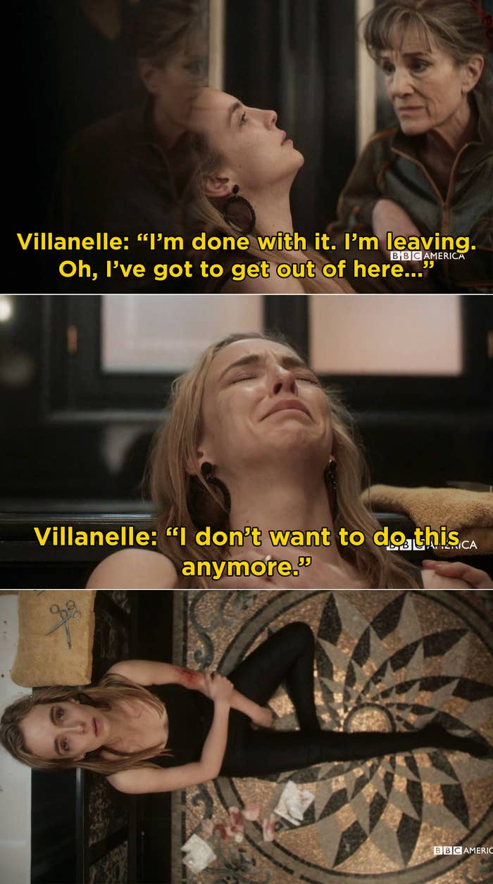 Villanelle crying and saying she doesn't want to do this anymore
