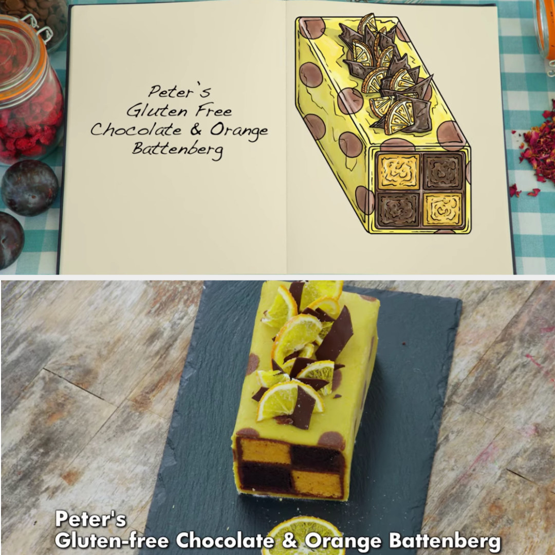 A drawing of Peter's gluten-free chocolate and orange battenberg side-by-side with his finished product