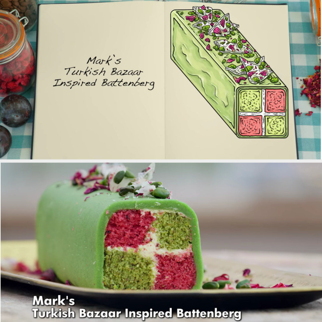 A drawing of Mark's Pistachio and Cardamom and Pomegranate and orange sponges with almond and orange marzipan side-by-side with his finished product