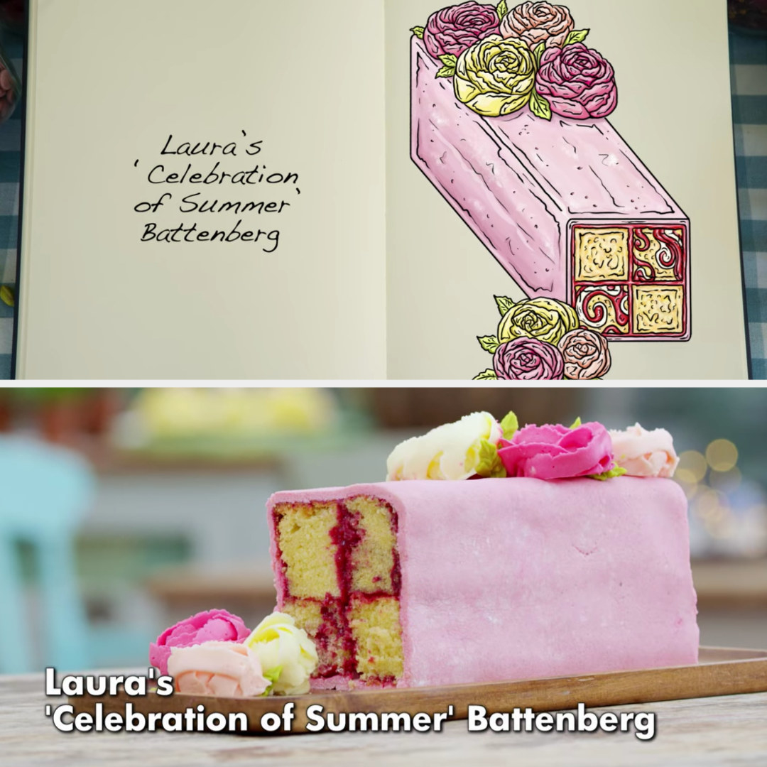 A drawing of Laura's Battenberg, with raspberry ripple and coconut sponges and piped flowers side-by-side with her finished product