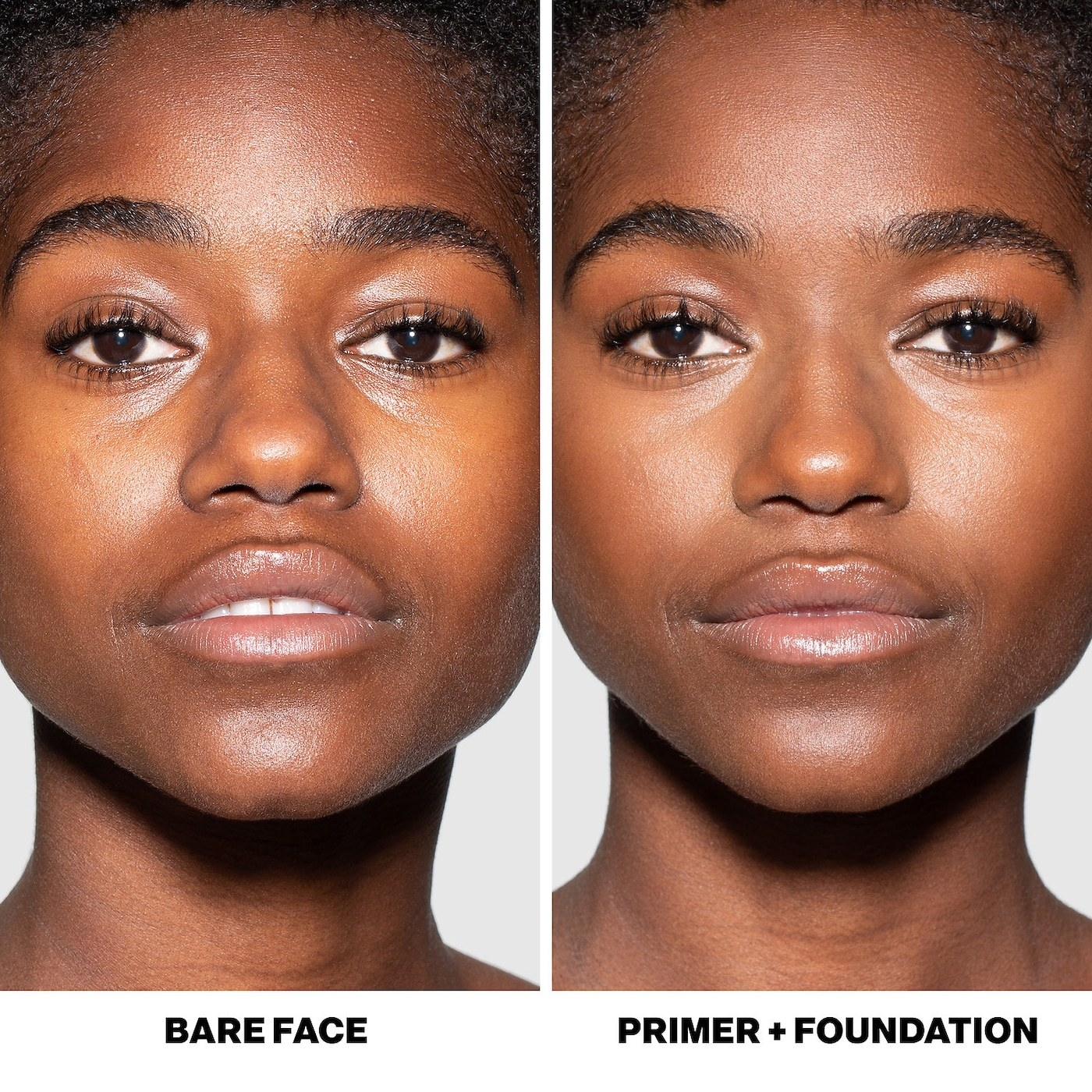 Before and after pic of a model using the Smashbox Photo Finish primer. The after pic shows a more even skin tone and less visible pores.