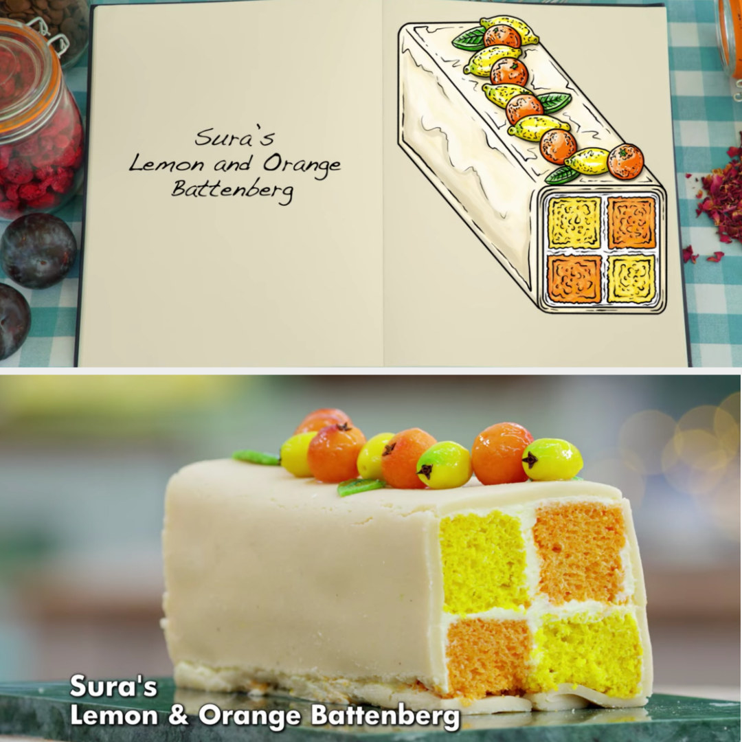 A drawing of Sura's lemon and orange battenberg decorated with marzipan lemons and oranges side-by-side with her finished product