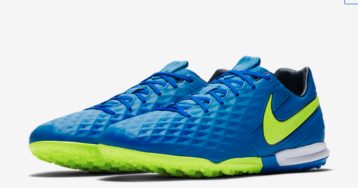 The sneakers in blue and neon green