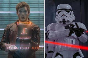 peter quill from guardians of the galaxy on the left, and a stormtrooper from star wars on the right