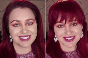 A before-and-after photo of clip-on bangs