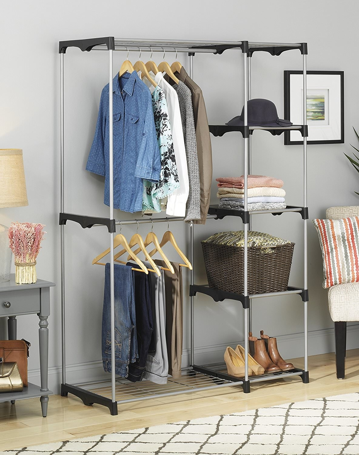The closet organizer with clothing