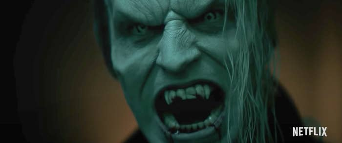 A vampire showing his fangs in Vampires Vs. The Bronx