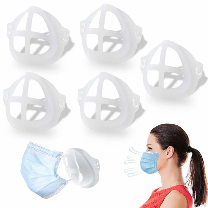 white plastic concave structures that go under the mask