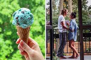 On the left, someone holds a mint chocolate chip ice cream cone, and on the right, a couple wears pajamas and stares loving into each other's eyes as they stand on the back porch