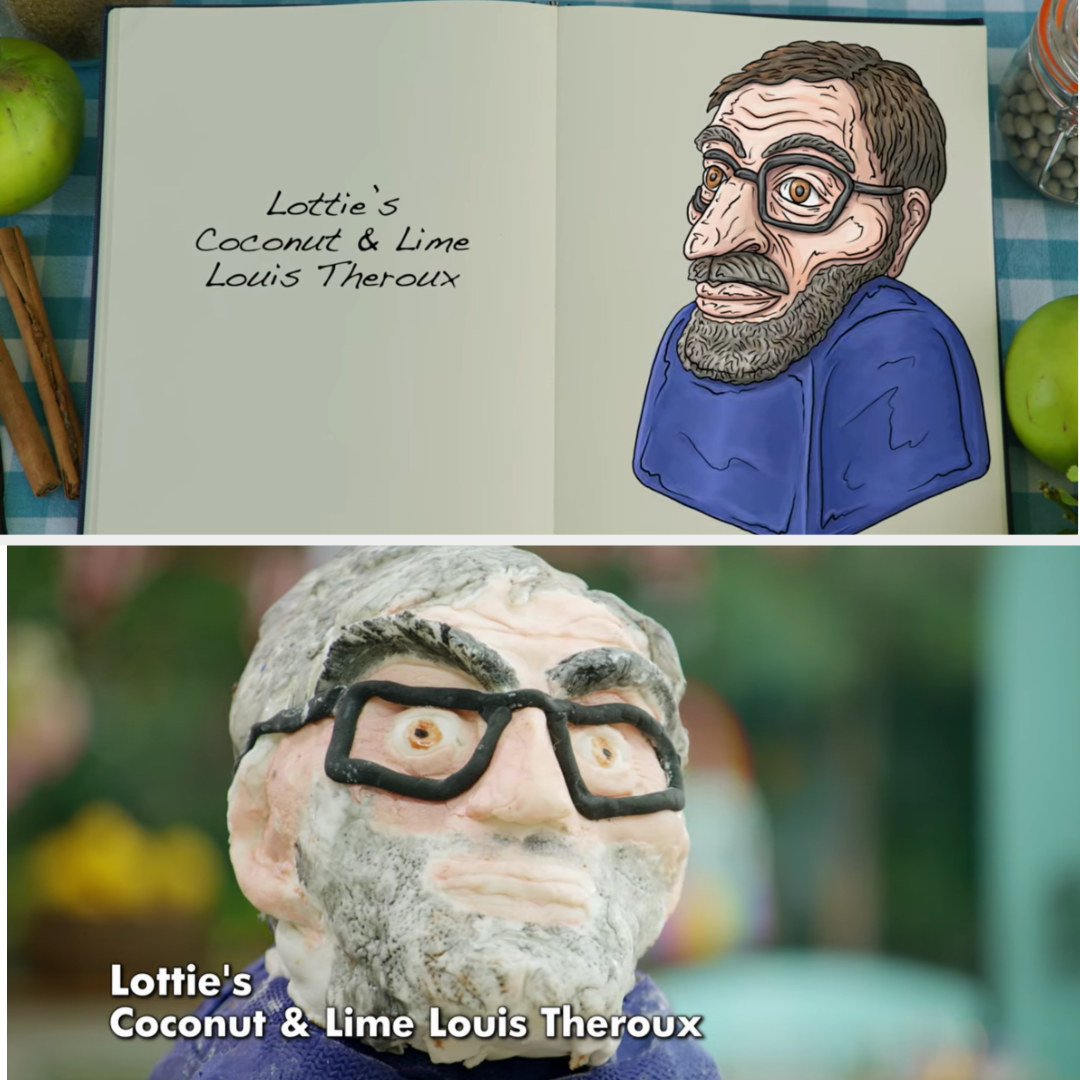 A drawing of Lottie's Louis Theroux bust side-by-side with her finished product