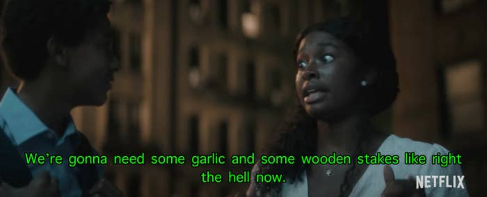 Rita in the film telling Miguel that they need garlic and wooden stakes
