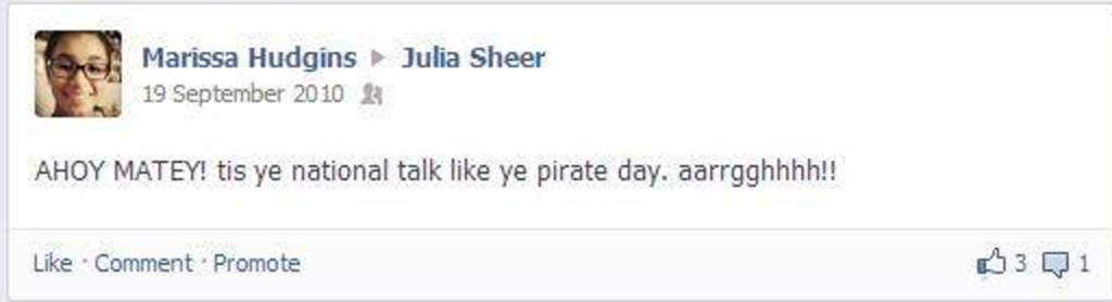 person on facebook talking like a pirate