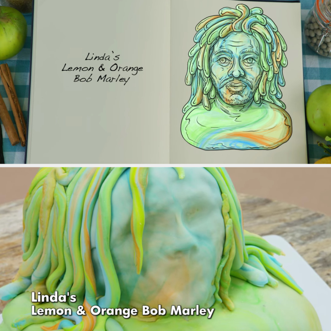 A drawing of Linda's Bob Marley cake side-by-side with her finished product