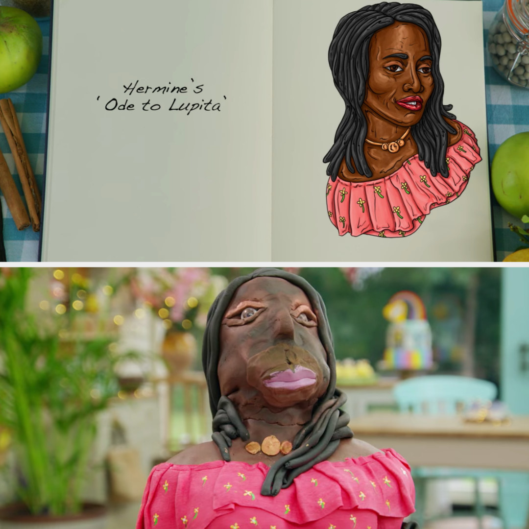 A drawing of Hermine's Lupita Nyong'o cake side-by-side with her finished product