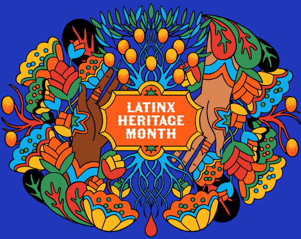 "A colorful collage of flowers with the phrase ""Latinx Heritage Month"" in the middle."