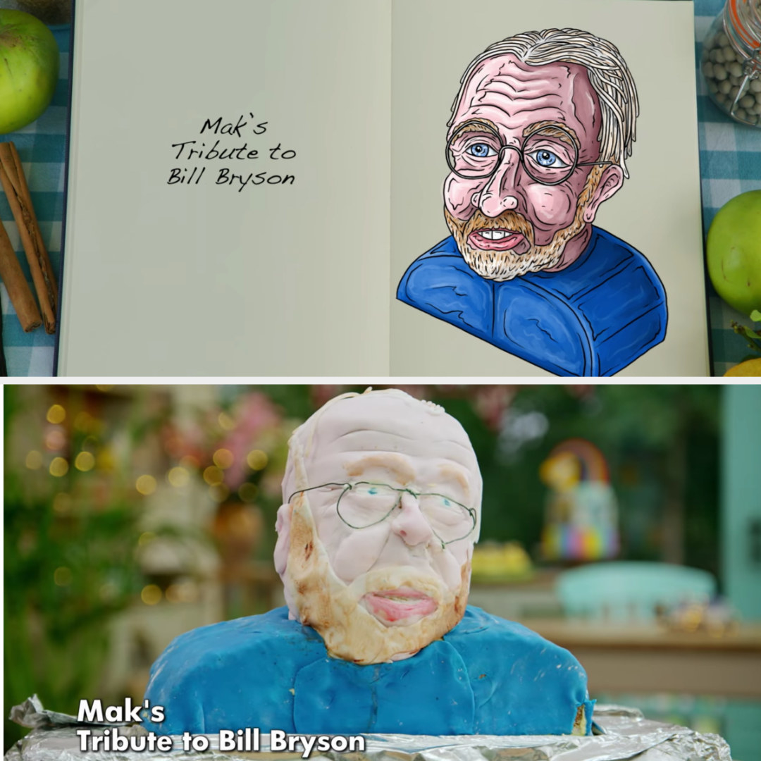 A drawing of Mak's Bill Bryson bust side-by-side with his finished product
