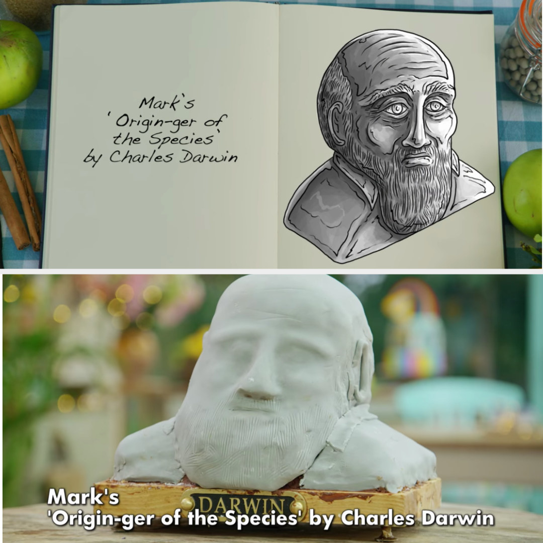 A drawing Mark's Charles Darwin bust side-by-side with his finished product