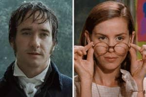 Mr. Darcy in the rain; Ms. Honey lowering her glasses.