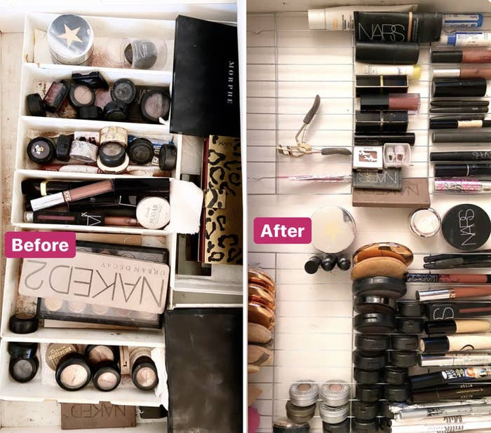 """A """"before"""" photo of a messy makeup drawer and an """"after"""" photo of the same drawer after it has been purged and organized"""
