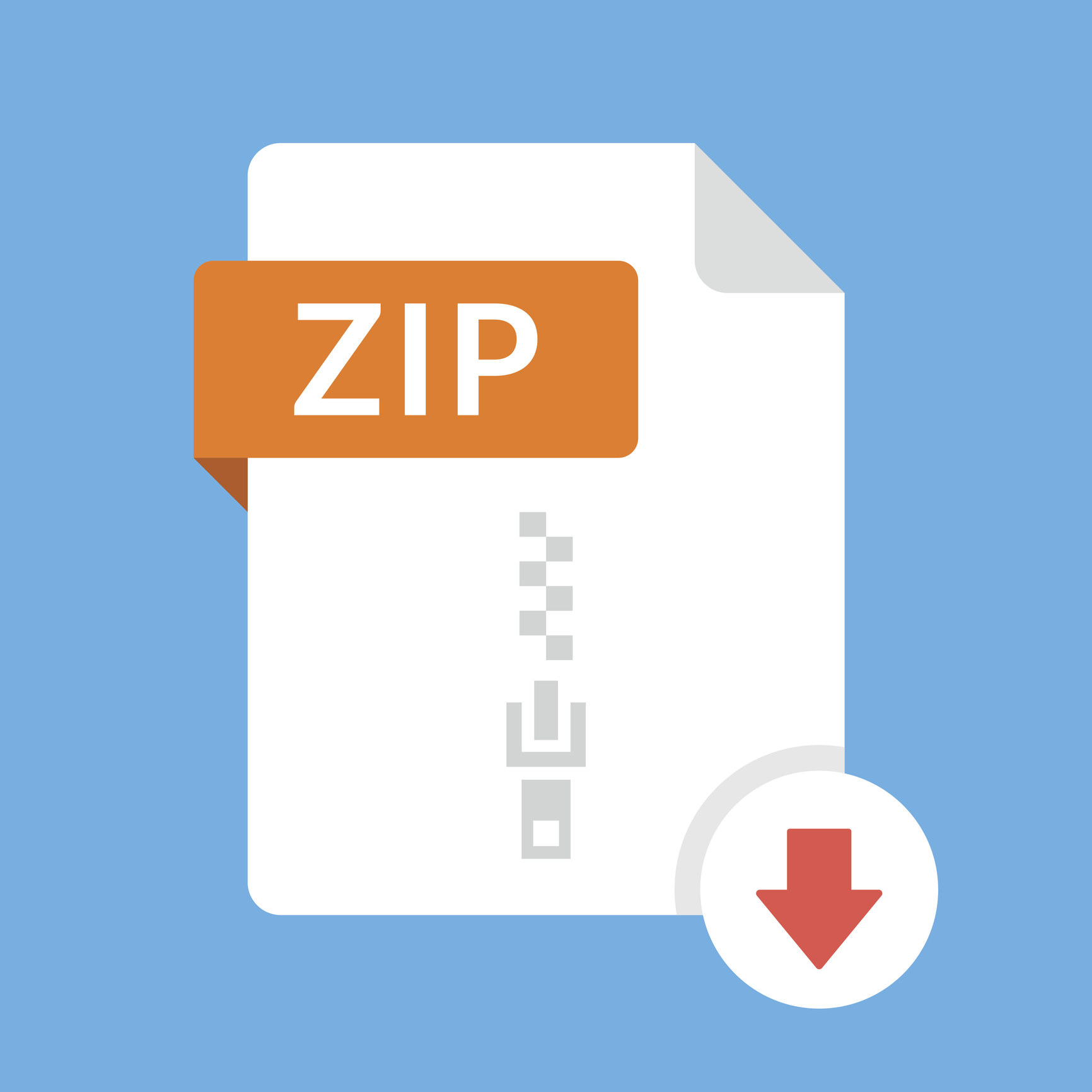 A stock image of a zip file being downloaded