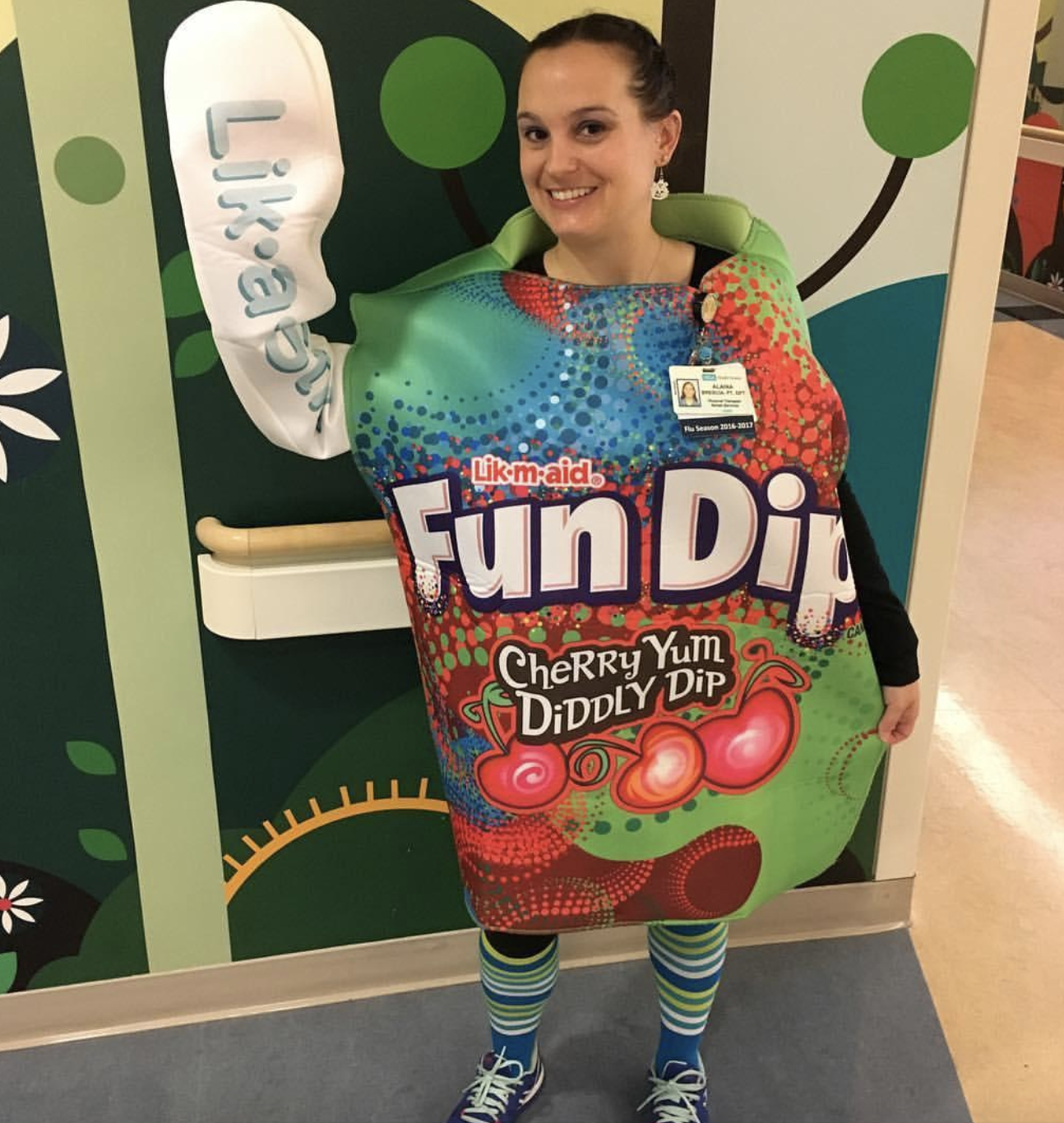 reviewer wearing the Fun Dip costume