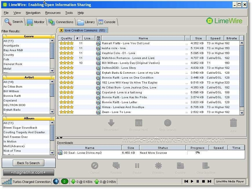 A screenshot of the LimeWire homepage with songs being downloaded