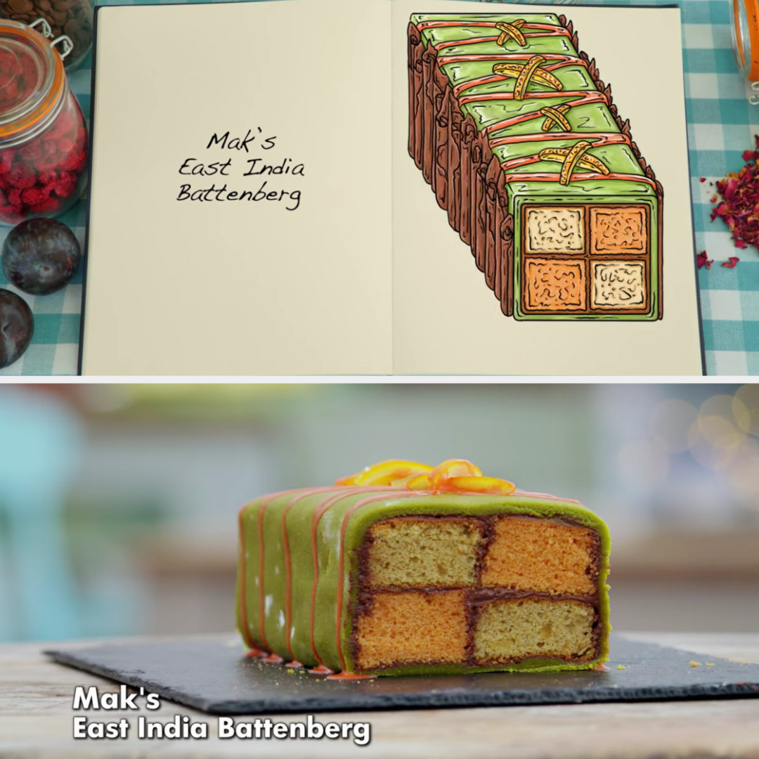 A drawing Mak's orange and spiced stem ginger sponges with Pistachio marzipan side-by-side with his finished product