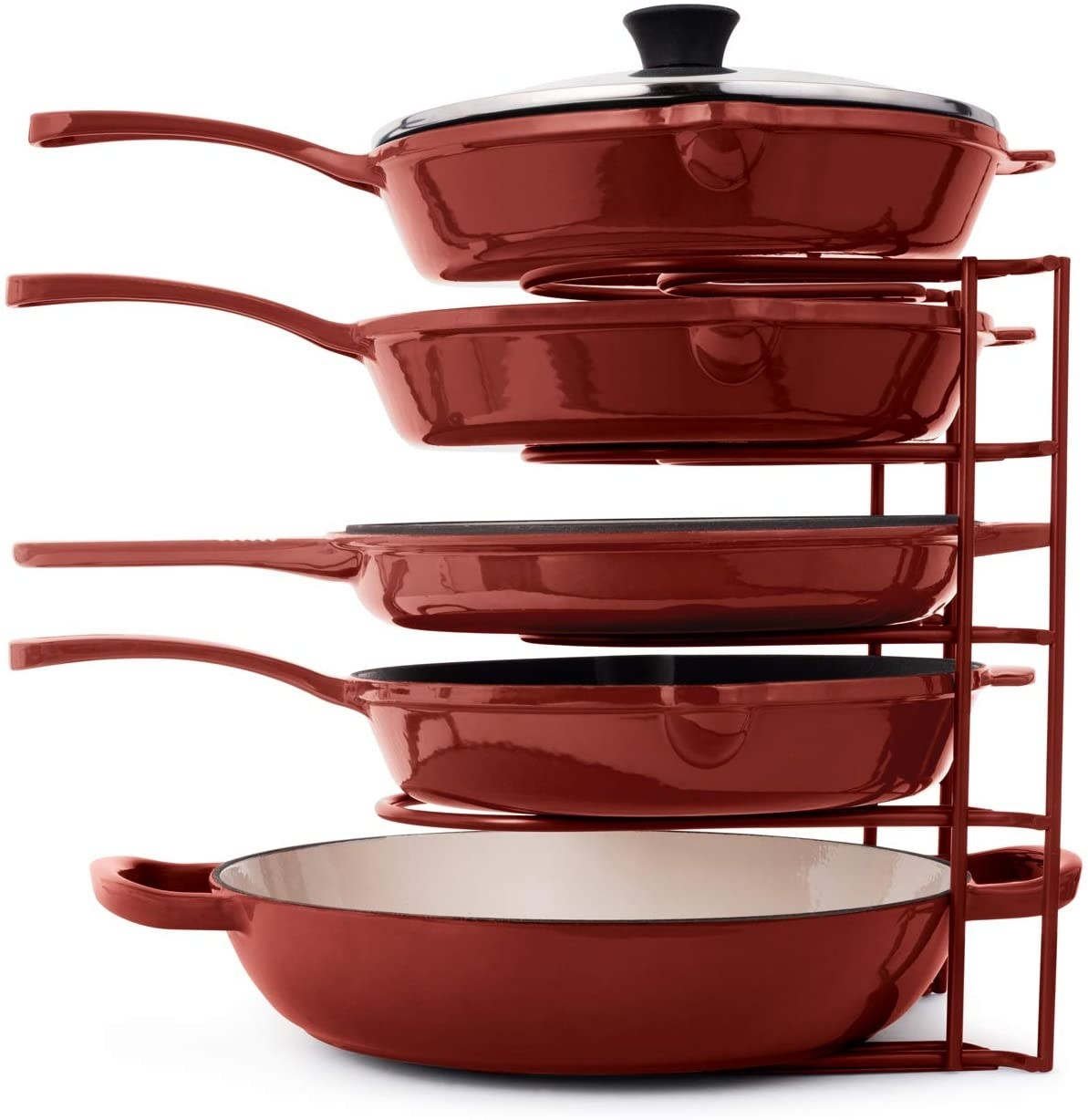The red Heavy Duty Pan Organizer holding five red pans