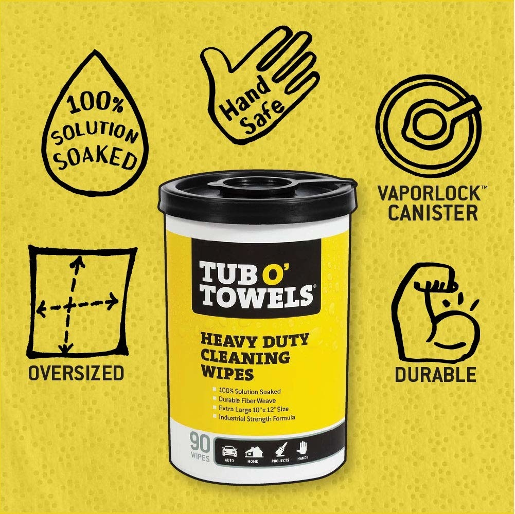 "The canister of wipes, with the text ""oversized, 100% solution-soaked, hand safe, vaporlock canister, durable"""