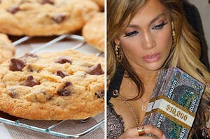 Cookies and Jlo holding a money purse.
