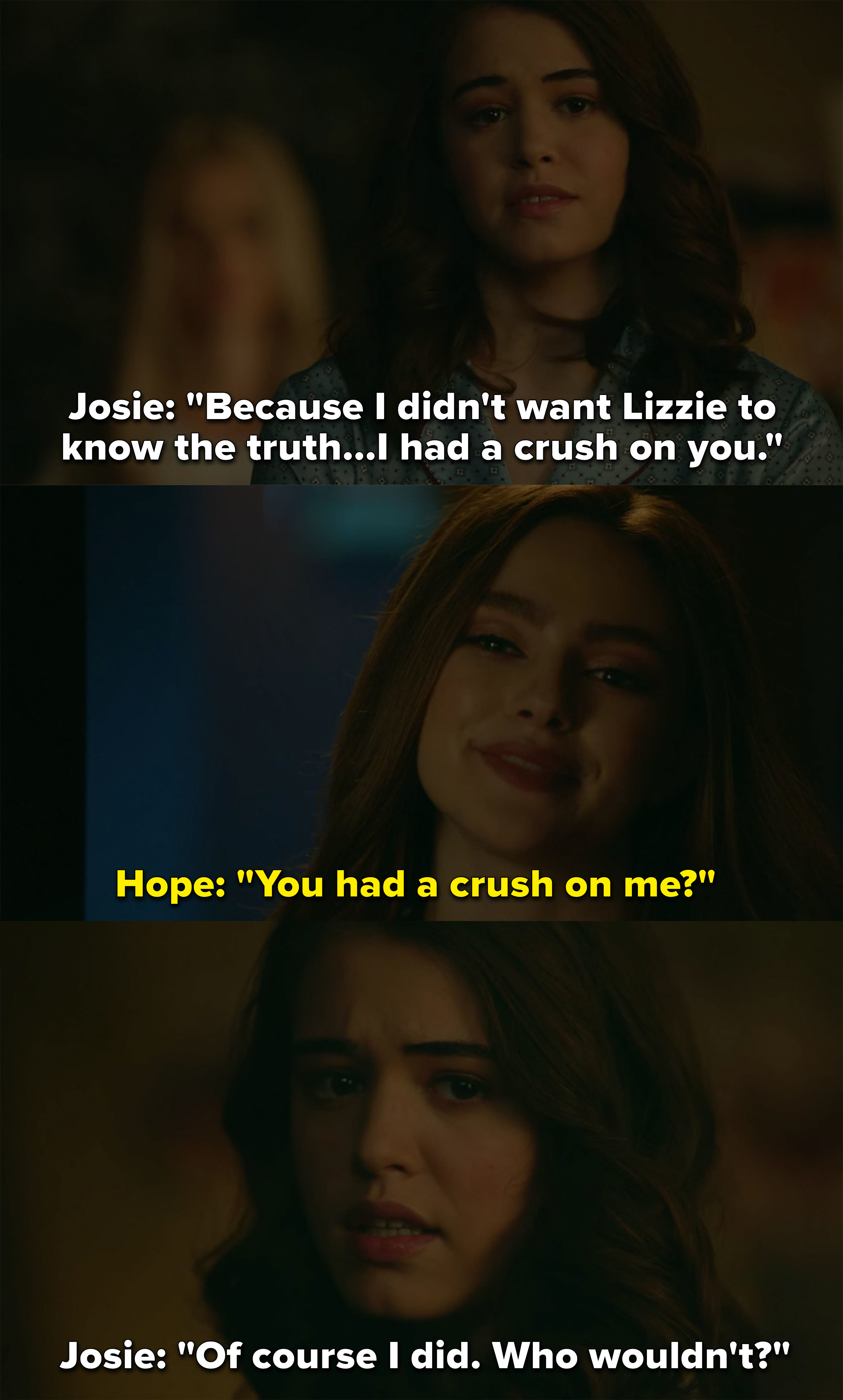 "Josie says ""of course"" she had a crush on Hope, asks ""Who wouldn't?"""
