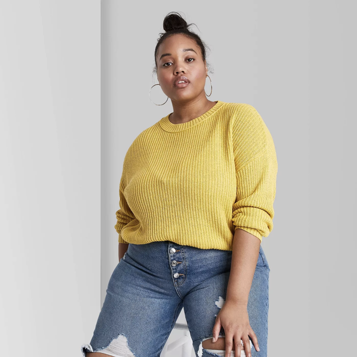 model wears ribbed sweater