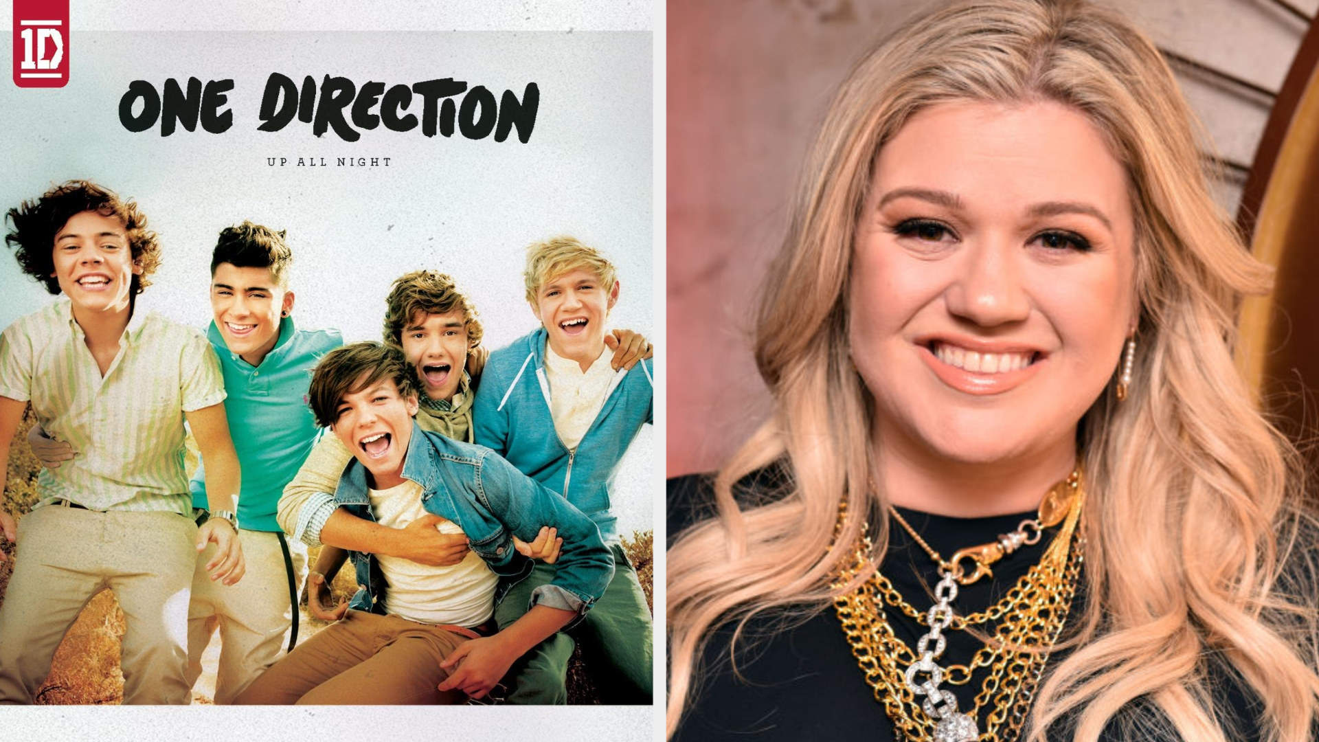 """The cover of One Direction's debut album, """"Up All Night;"""" Kelly Clarkson at a press event in the late 2010s"""
