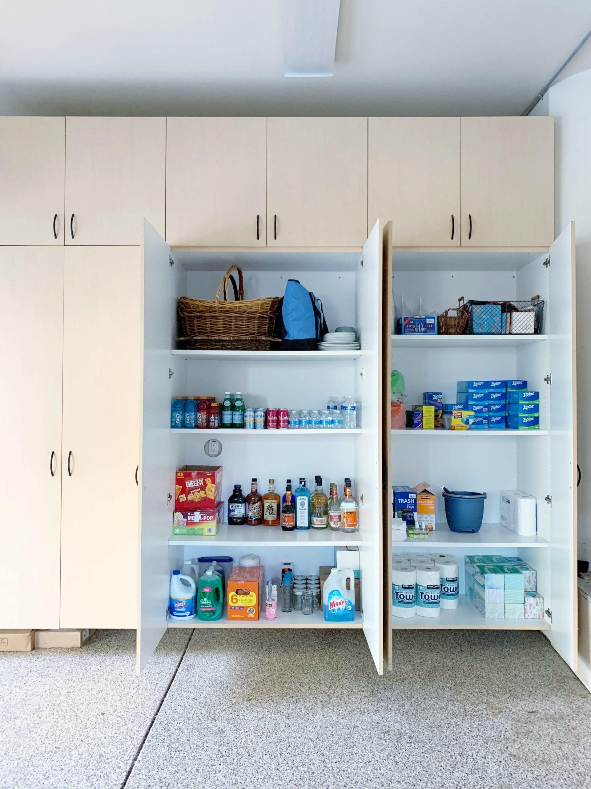Organized garage cabinets