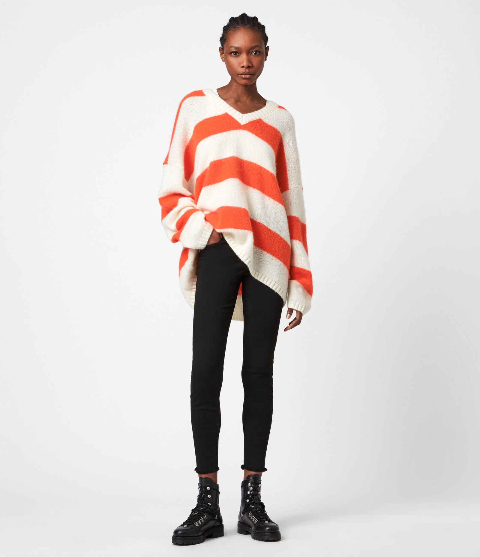 striped sweater with v neck