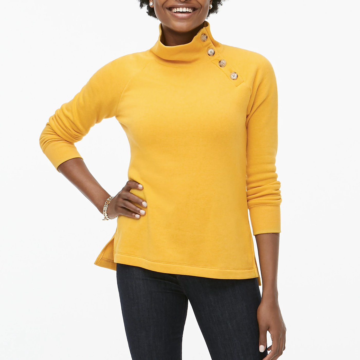 yellow sweater with high neck collar